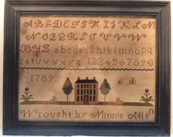 Primitive Cross Stitch Sampler Chart/pattern, primitive needlework, folk-art schoolgirl sampler, Minnie Allen