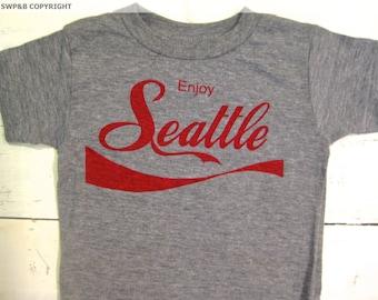 Coke inspired Seattle toddler tshirt. American Apparel. Coca cola shirt.