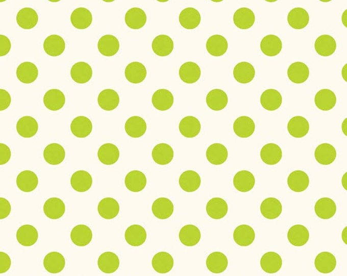 Half Yard Le Creme Dots - Medium Swiss Cream Dots in Lime Green -Cotton Quilt Fabric - C620-32 - RBD Designers - Riley Blake Designs (W2452)