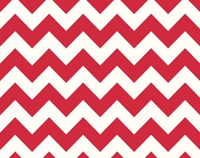 Half Yard Le Creme Chevron - Medium Chevron on Cream in Red - Cotton Quilt Fabric - C640-80 - Riley Blake Designs (W2464)