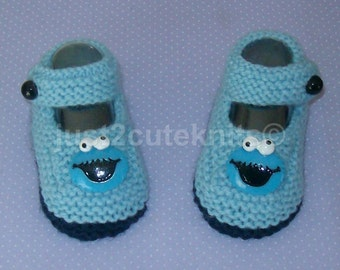 Hand knitted Baby Boys Cookie Monster Booties
