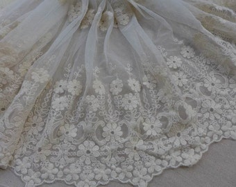 Retro Embroidery Tulle Lace in Ivory for Bridal, Cuffs, Skirt or Home Decor