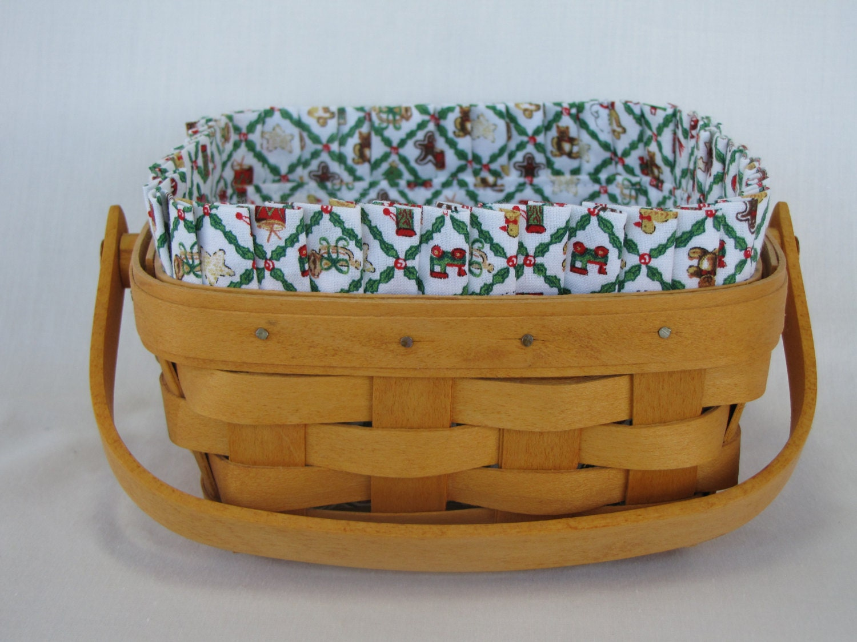 Handmade Longaberger Basket Liners : Custom christmas basket liner for longaberger large berry