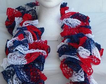 Patriotic - Crochet Ruffle Scarf - American Flag Colors - Fourth of July Celebration - Crochet Sashay Scarf - Ruffle Scarf - America