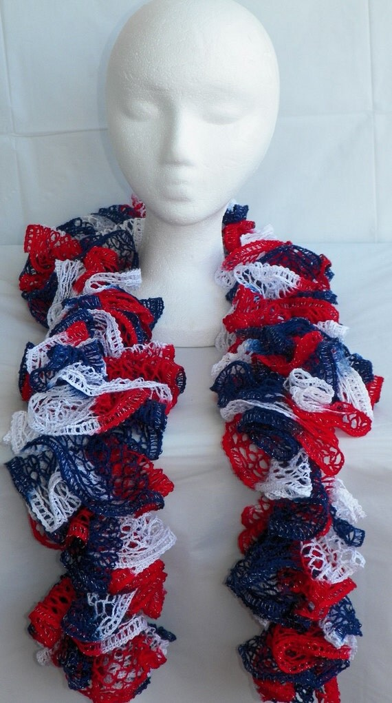 Crochet American Flag Scarf Pattern : Patriotic Crochet Ruffle Scarf American Flag Colors