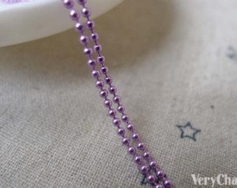16ft (5m) E-Coating Purple Brass Bead Ball Chain 1.5mm A7377