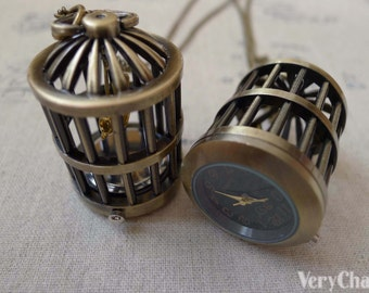 1 PC Antique Bronze Bird Cage Pocket Watch Necklace Chain Included 35x50mm A7474