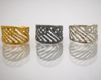Silver Ring, Gold plated and Oxidized Gold plated.