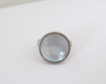 Vintage Sterling Silver Inlay Blue MOP Ring Size 8.5
