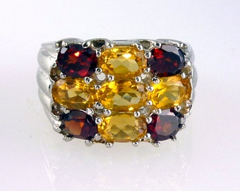 Natural Citrine and Garnet Band Ring 925 SS Sterling Silver