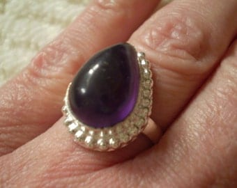Amethyst (Natural) Sterling Silver Plated Size 7.50 Ring