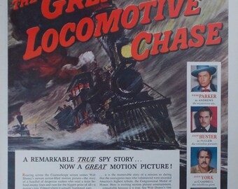 Vintage print ad from 1956 for Walt Disney 'The Great Locomotive Chase'