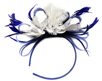 Royal Blue and White Fascinator on Headband AliceBand UK Wedding Ascot Races Loop