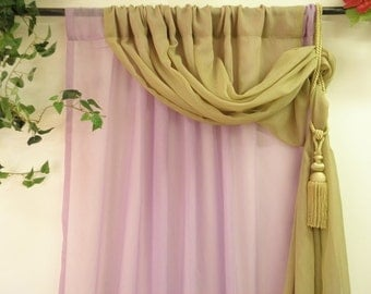 Lilac and olive green double layer semi sheer curtain panel  lovely bebroom young princess window treatment