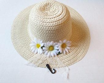 Women Sun Hat - Summer hat -Women's Wide Brim - Daisy- Beach- Pool hat