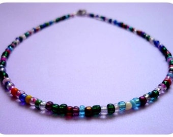 Colorful Beaded Choker Necklace, Dainty Seed Bead Necklace, Multicolored Choker, Rainbow Necklace