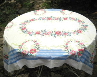Rectangle tablecloth, Floral tablecloth blue trim, spring flowers, shabby cottage chic decor, mid century, 50 x 64 inches, 985