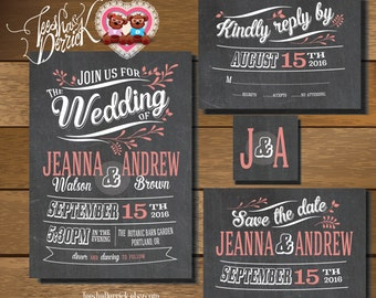 Printable Wedding Invitation Suite in vintage theme (w0182), of wedding invitation, RSVP card, monogram and Save the Date card designs.