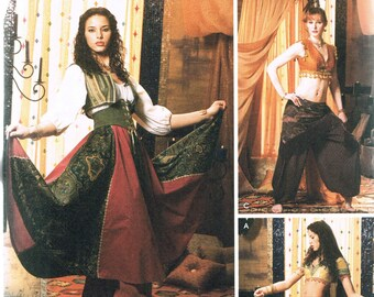 Size 6-12 Misses' Adult Belly Dancer Costume Sewing Pattern - Halloween Costume Pattern - Harem Pants Pattern - Simplicity 5359