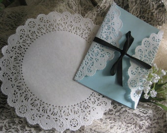 "White Floral  NORMANY LACE  Paper  Doily 50 Pcs Round DIYS Wedding  Invitations Crafts Wraps 9"" inch"