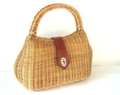 Purse Vintage 50's Wicker Purse with Leather Strap, 50s Purses