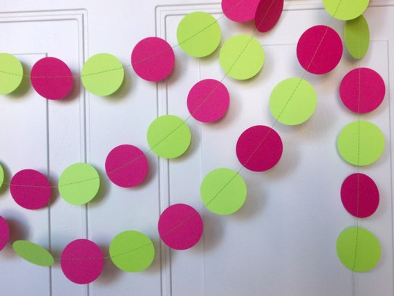 Party Paper Circle Garland Hot Pink Lime Green Party