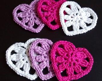 Pink-Violet-White Handmade Crocheted Hearts (appliqués) 6 pcs set