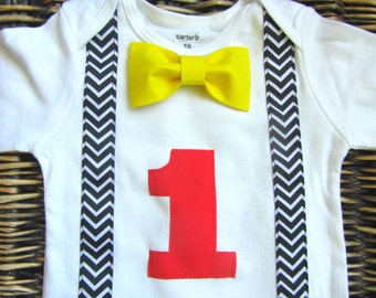 Boy's First Birthday Outfit - Baby Boy Clothes - Bow Tie Suspenders - Red Black Yellow Birthday- 1st Birthday Shirt Boys First Birthday Boy
