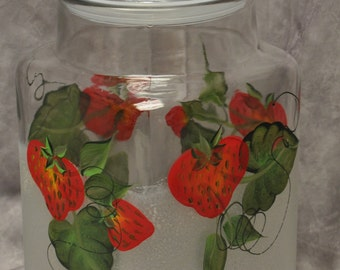 Hand painted, Strawberries Kitchen Canister