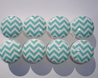 Aqua Chevron Dresser Drawer Knobs--Set of 8