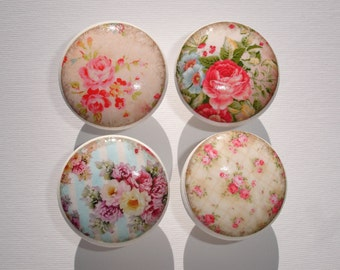 Set of 8 Vintage Pink Rose Dresser Drawer Knobs