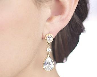 Cubic Zirconia Bridal Earrings - Gold Jewelry - Crystal Bridal - Long Earring - Bride Jewellery - Wedding Earings - CZ Diamond - Z11, 12, 13