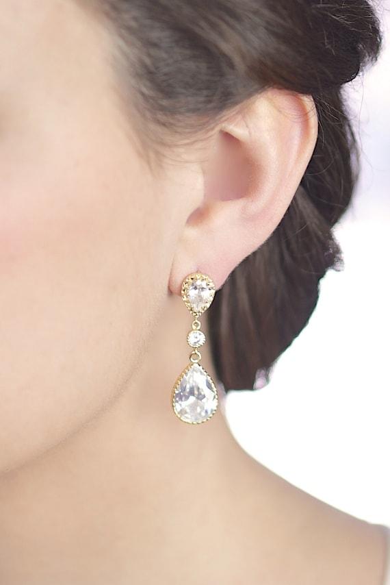 cz gold bridal earrings