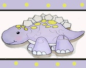 Stegosaurus Hand Painted Wooden 3d Jigsaw Puzzle Childrens Puzzle ready to ship