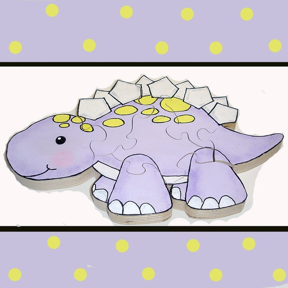 Stegosaurus Hand Painted Wooden 3d Jigsaw Puzzle Childrens Puzzle