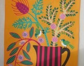 Wild Flowers and Silvereyes Australian Tea Towel
