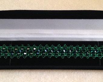Beautiful Emerald Green Beaded Bracelet.