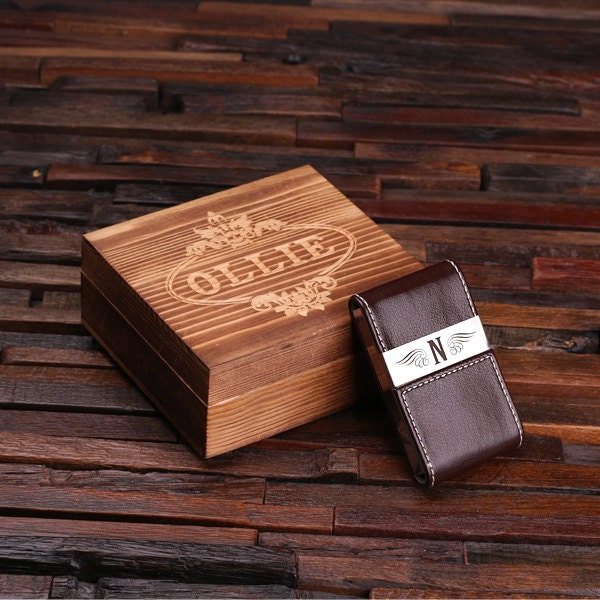 personalized leather engraved monogrammed business card holder