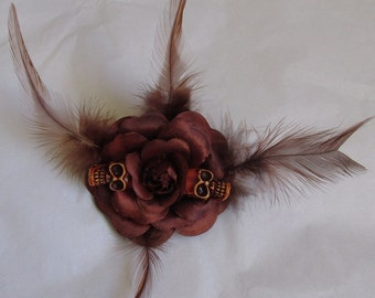 Brown feather satin petals rose flower gothic skull day of the dead hair clip. Fascinator, brooch, hairband. Costume party.