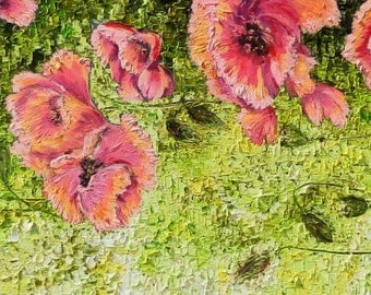 Large Colorful Abstract Painting Oil Art in Pink, red, green Colors Titled: Poppies.Fields of flowers. Original Large Oil Painting .