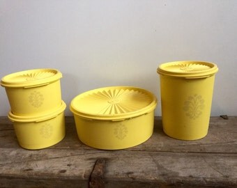 Yellow Tupperware Container Set