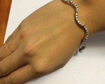 Vintage CZ sterling silver bracket, fashion, elegant fine bracelet