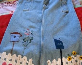 Maxi Denim Duster/Coat, Women's P/S, bird houses and pickett fence