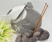 Knitting project bag - Crochet project bag - wristlet pouch - Japanese Knot Bag/Purse – Medium -Cotton – Gift – Present - Flowers