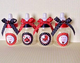 12 Lady bug baby shower bottles- lady bug baby shower favors-Girl's baby shower- lady bug