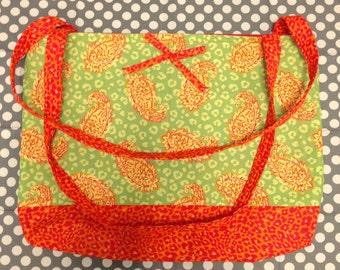 Handmade paisley and animal print tote bag with bow