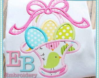 Easter Basket 2 Applique - This design is to be used on an embroidery machine. Instant Download