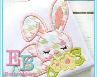 Bunny Flowers Applique - This design is to be used on an embroidery machine. Instant Download