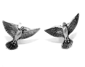 Merlin Bird of Prey Cufflinks in English Pewter, British Made, Gift Boxed (H)