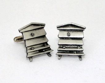 Bee hive Cufflinks by Hoardersworld, Handmade in Fine English Pewter, Bee Keeping (H)